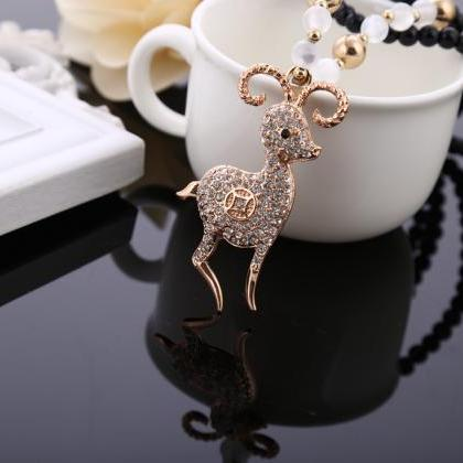 long beaded sheep animal necklace,s..