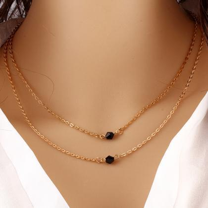 Clavicle chain necklace double laye..
