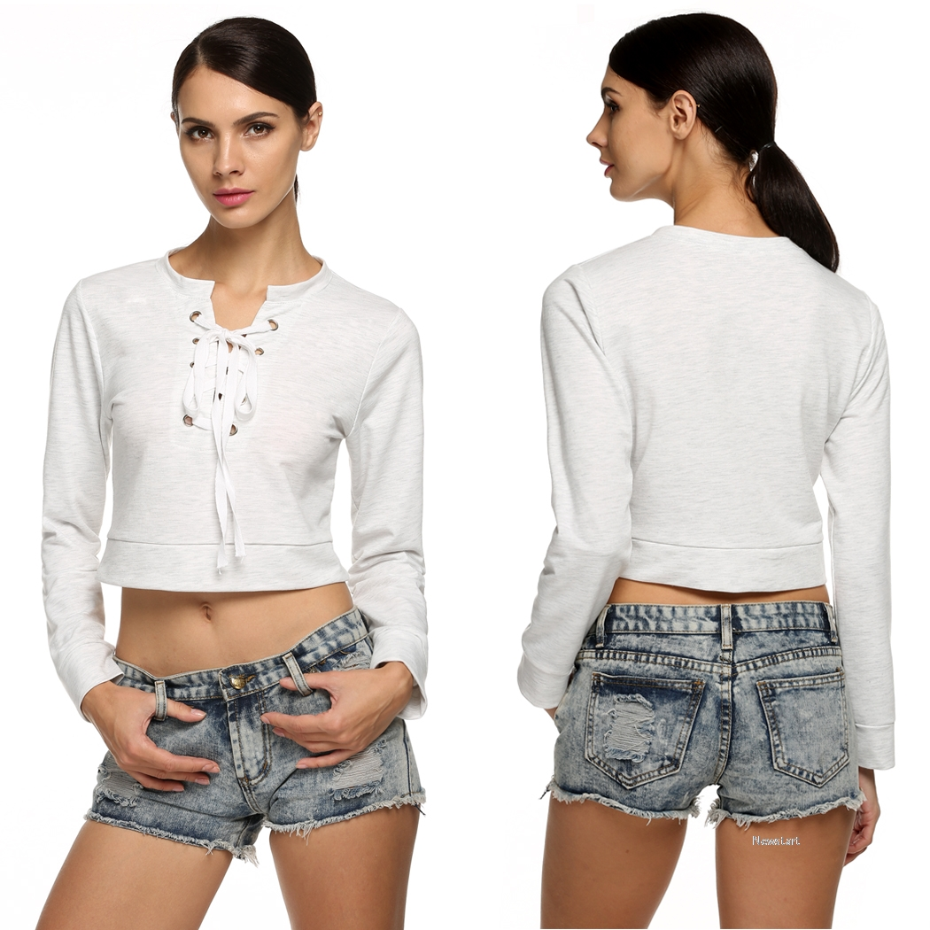 Stylish Ladies Women Lady Casual Long Sleeve Bandage Neck Solid Leisure Sexy Crop Top SV028560
