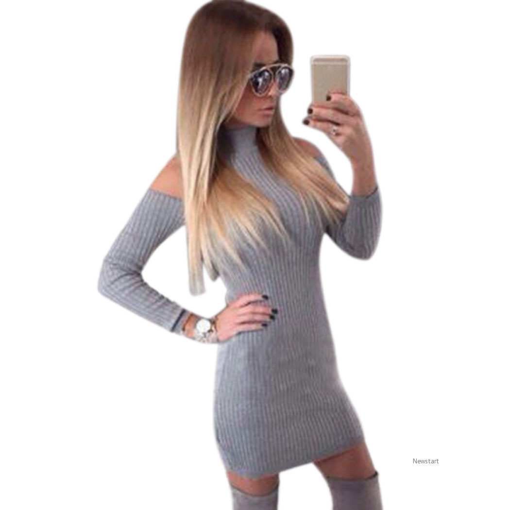 e5b55d62cc3 Stylish Women Casual Winter Off Shoulder Long Sleeve Solid Slim Bodycon  Mini Dress SV028910