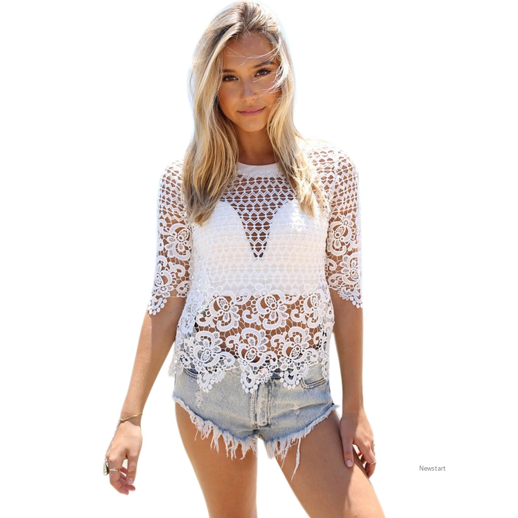 Sexy Women Summer Lace Crochet Bikini Cover Up O-Neck Half Sleeve Hollow Out Beach Tops SV019049
