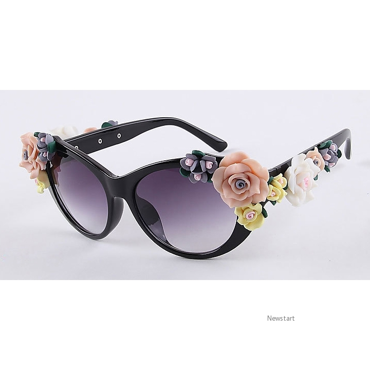 New Fashion Women Ceramic Flowers Sunglasses Tourism Driving A Car Glasses SV006557