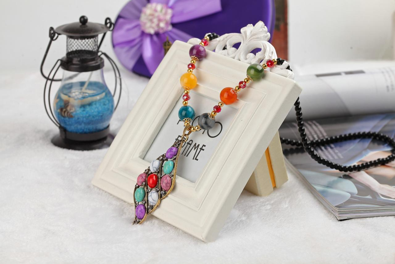 handmade agate pendants ethnic stone beads original long necklaces for women trendy party jewelry accessories gift 299
