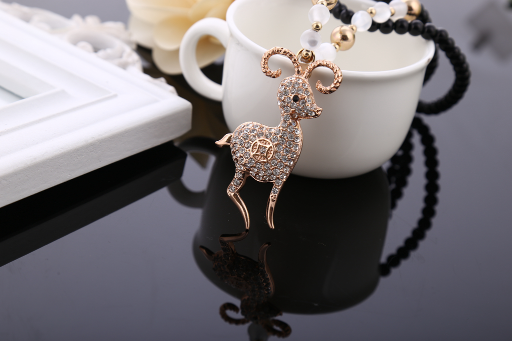 Long Beaded Sheep Animal Necklacestatement Necklace DIY Necklace