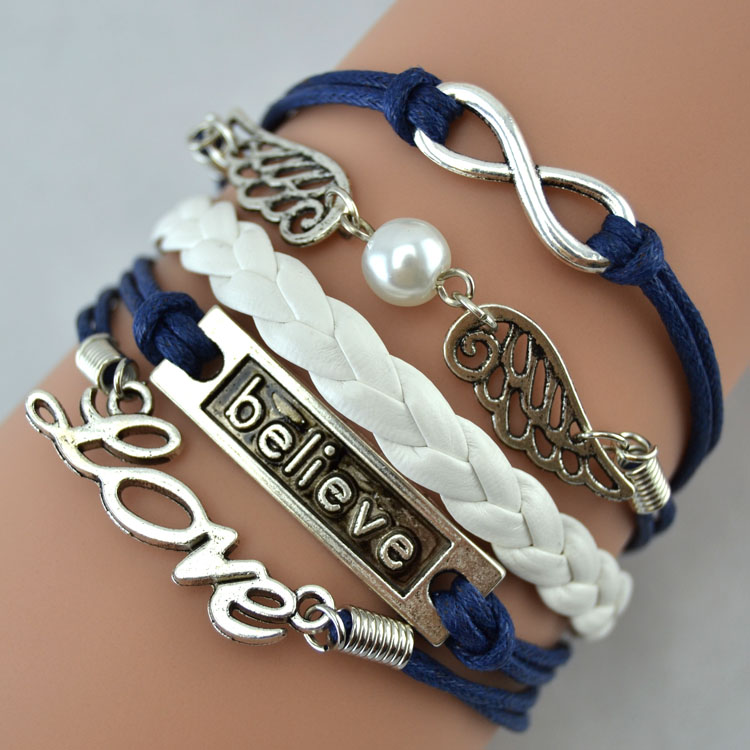 Handmade DIY Infinity Love bracelet angle wings with Believe leather Cute Charm Bracelet
