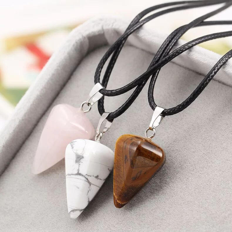 women fashion Natural jade triangle cone energy Necklace Turquoise retro yellow amber