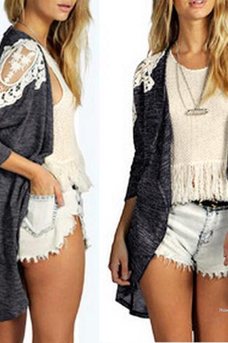 European Style Fashion Women Elegant Lace Patch Irregular Thin Cardigan