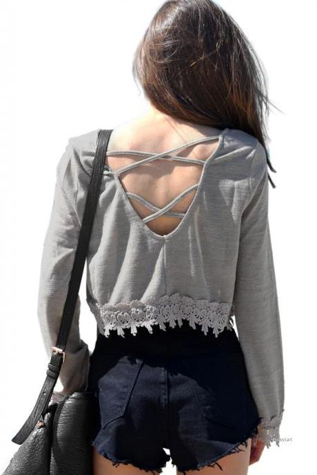Lace stitching Halter long sleeved T-shirt SV028849