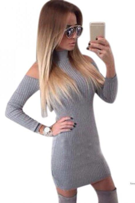 Stylish Women Casual Winter Off Shoulder Long Sleeve Solid Slim Bodycon Mini Dress SV028910