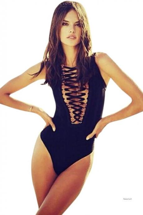 Women Fashion Sexy swimming suit One Piece Deep V Neck Sleeveless Bondage Hollow Stretch Solid Bodysuit SV029093