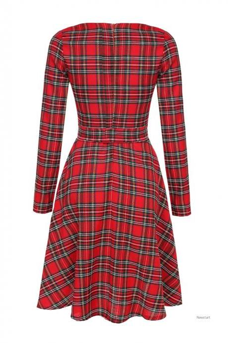 Stylish Ladies Women Casual O-neck Long Sleeve Plaid High Waist A-line Dress SV029280