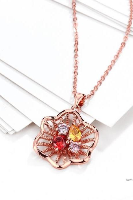 High Quality zircon necklace Fashion Jewelry 18K gold plating necklace KZCN089