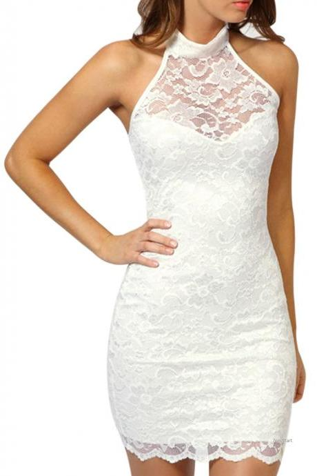Fashion Sexy Women's Dress Elegant Evening Cocktail Party white Lace Floral Dress SV001063