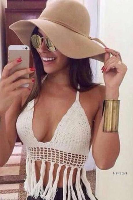 Women Fashion Sexy V Neck Halter Sleeveless Backless Padded Knit Fringe Hollow Solid Short Crop Tops SV019350