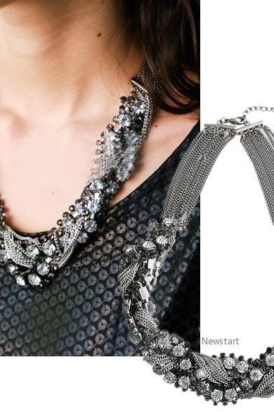 Fashion Cool Punk Personality Victorian Antiqued Vintage Rhinestone twist Biker Chain Choker Bib Necklace 4985