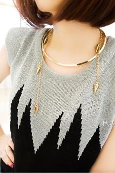 Fashion Women's Girls Retro Vintage Gold Tone Rivet Studs Tassels Choker Body Cover Necklace