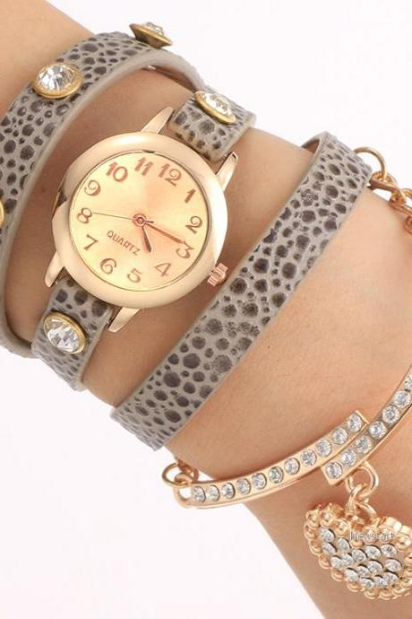 New Fashion Women Casual Watch Wristwatch Synthetic Leather Multilayer Quartz Watch SV025634