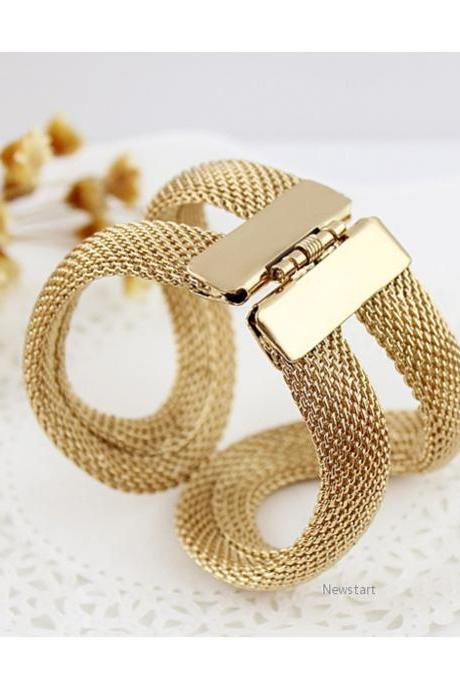 Gift Design Jewelry Gold Alloy Wide With Spring Mesh Hinged Cuff Bracelet Bangles 18990