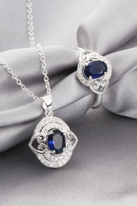 2016 new style 925 silver plated jewelry sets for sale Necklace and Ring