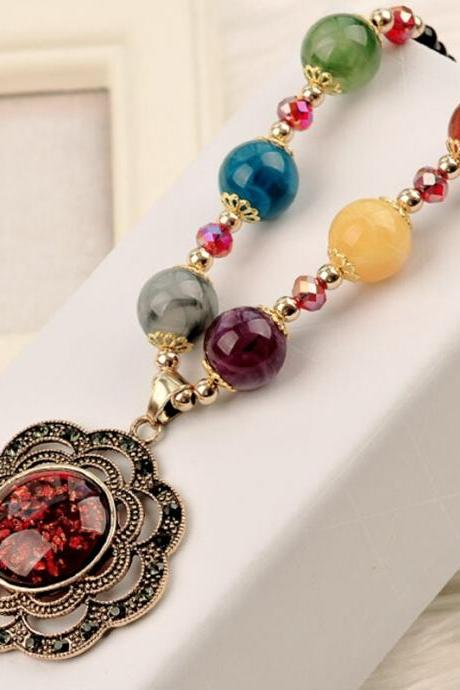 handmade agate pendants ethnic stone beads original long necklaces for women trendy party jewelry accessories gift 159