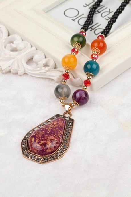 handmade agate pendants ethnic stone beads original long necklaces for women trendy party jewelry accessories gift 174