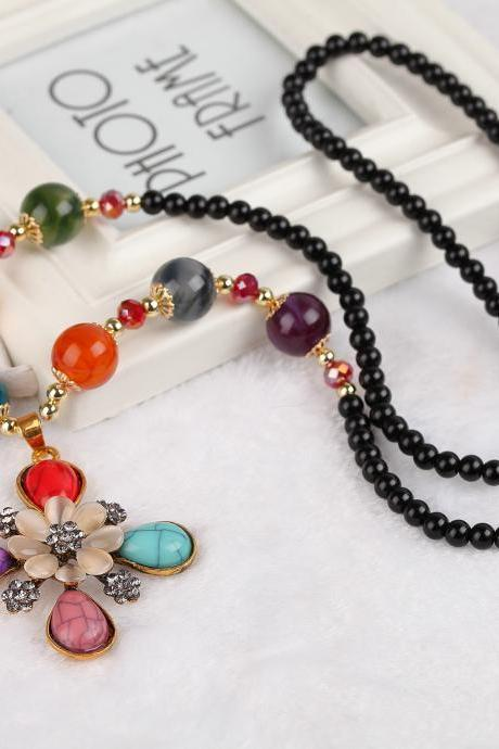 handmade agate pendants ethnic stone beads original long necklaces for women trendy party jewelry accessories gift 304