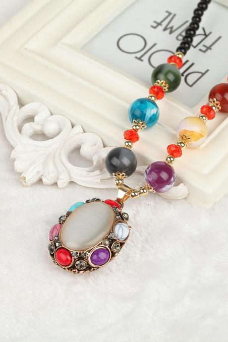 handmade agate pendants ethnic stone beads original long necklaces for women trendy party jewelry accessories gift 311