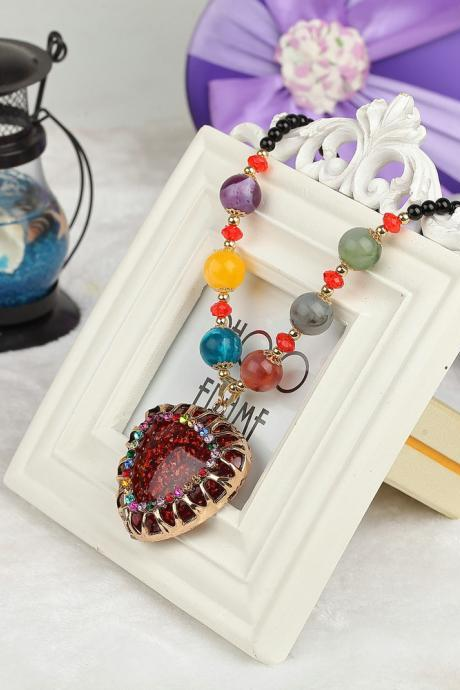 handmade agate pendants ethnic stone beads original long necklaces for women trendy party jewelry accessories gift 313