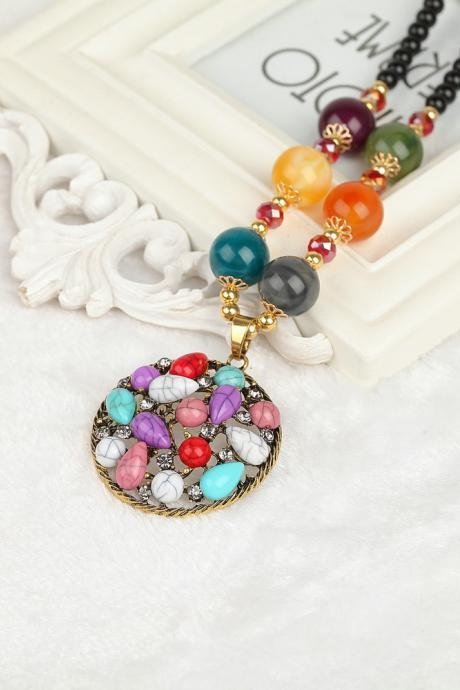 handmade agate pendants ethnic stone beads original long necklaces for women trendy party jewelry accessories gift 315
