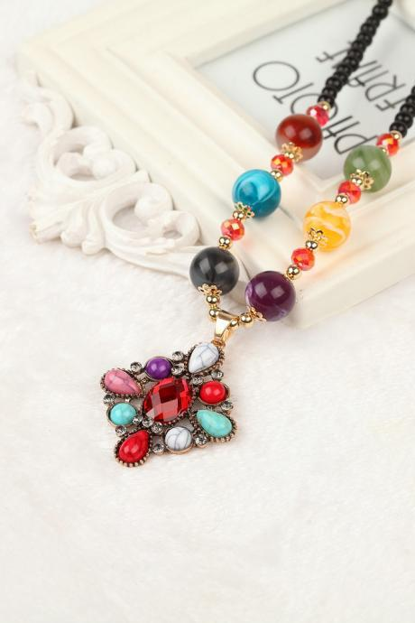 handmade agate pendants ethnic stone beads original long necklaces for women trendy party jewelry accessories gift 317