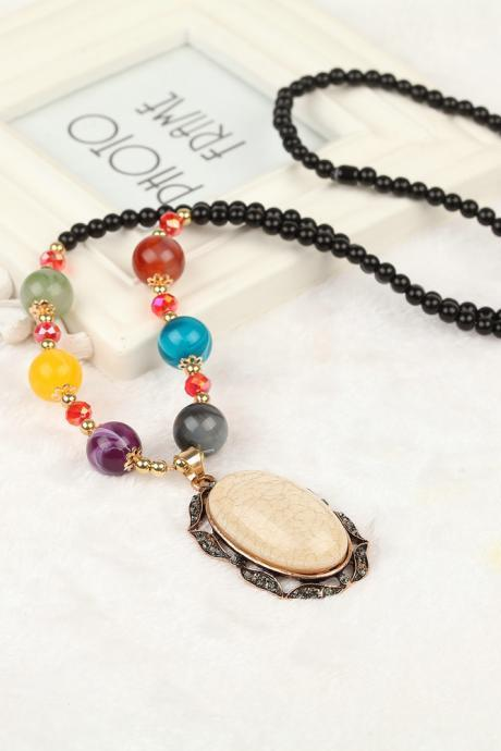 handmade agate pendants ethnic stone beads original long necklaces for women trendy party jewelry accessories gift 320