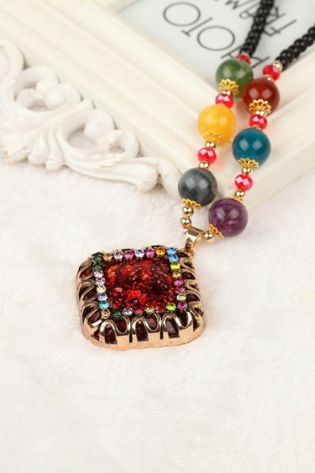 handmade agate pendants ethnic stone beads original long necklaces for women trendy party jewelry accessories gift 321