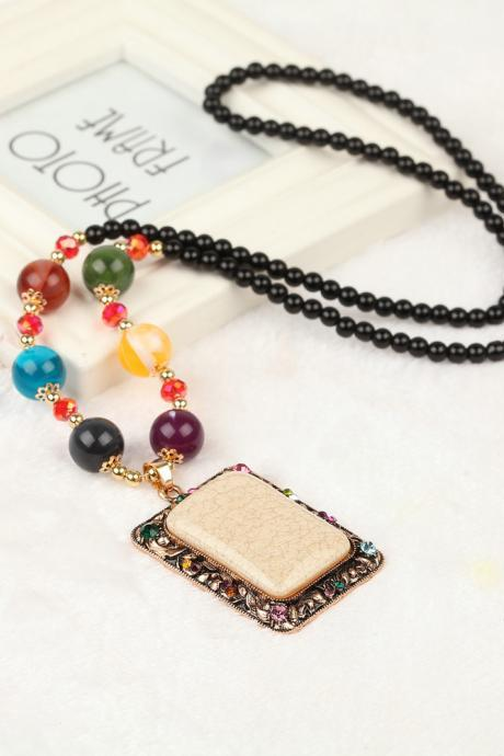 handmade agate pendants ethnic stone beads original long necklaces for women trendy party jewelry accessories gift 325