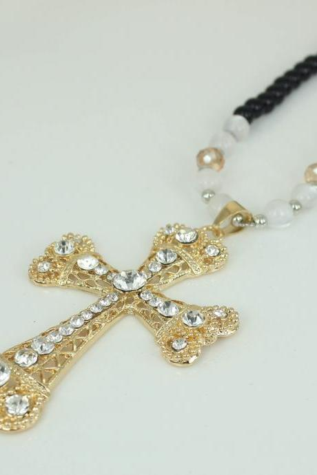 fashion cross necklace cross with crystal necklace gift, Good accessory for men and women