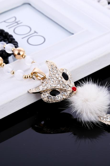 lovely fox girl necklace,fashion personality necklace gift for pretty girl,women fashion fox animal necklace