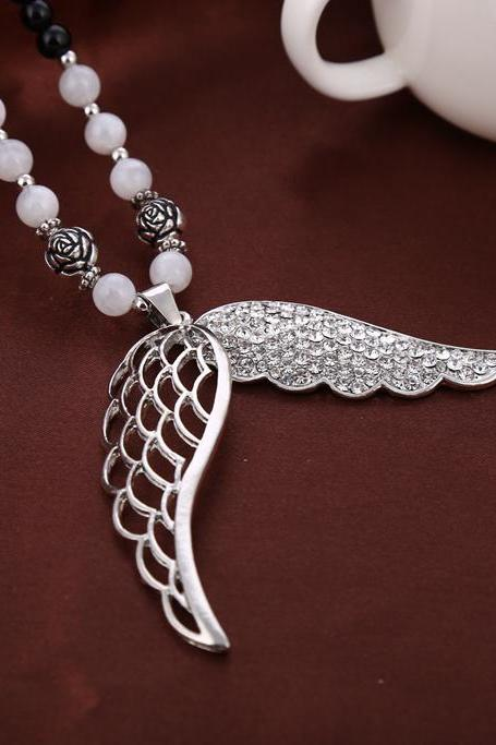 women fashion angle wings necklace,long chain necklace