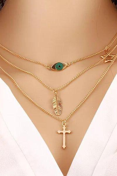 fashion handmade DIY gold chain necklace,cross with evil eye chain necklace gift