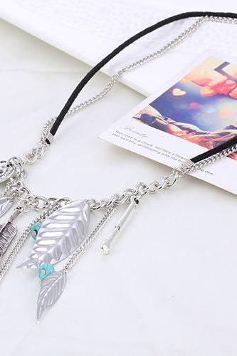 women short necklace DIY personalized necklace fashion women necklace retro leaves with turquoise 31B48