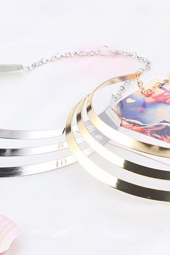 women fashion three layer metal Circle Necklace Pendant sequins punk 41F14-24