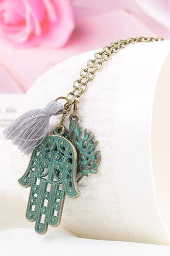 New lovers DIY retro Palm and Leaf Necklace personalized necklace 32H49