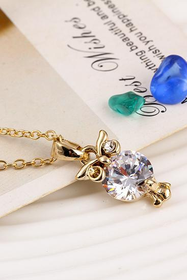 women fashion gold owl necklace diamond necklace 32O39