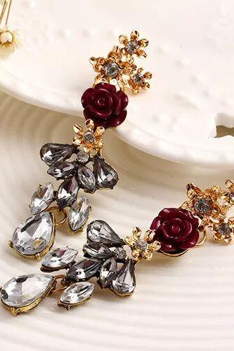 Fashion Women earrings, Rose decoration with crystal Earrings jewelry 12b11