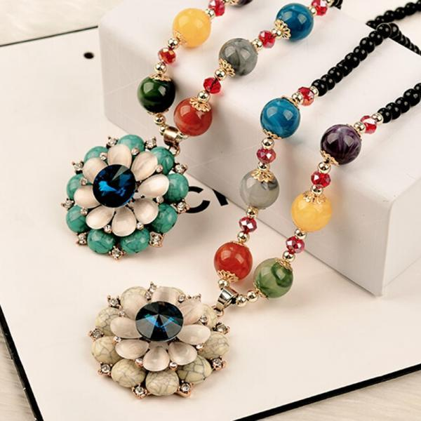 handmade agate pendants ethnic stone beads original long necklaces for women trendy party jewelry accessories gift 291