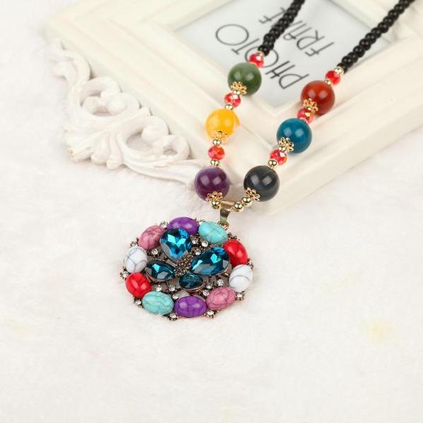 handmade agate pendants ethnic stone beads original long necklaces for women trendy party jewelry accessories gift 323