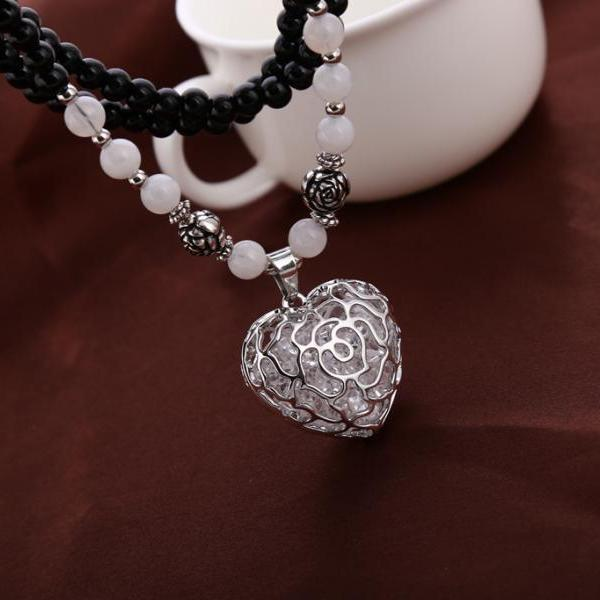 women long chain necklace silver hollow out heart shape necklace