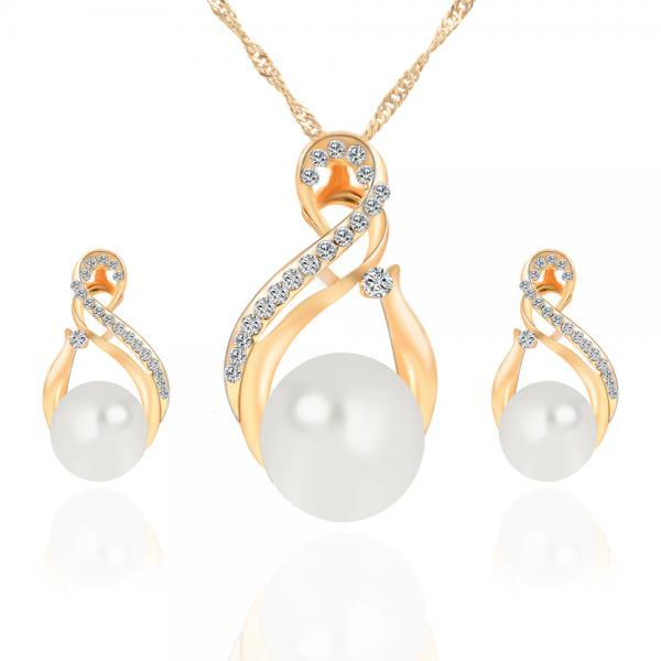 The New Necklace Earrings Set Earrings Pendant Jewelry Set combination female Korean jewelry three piece 42k20