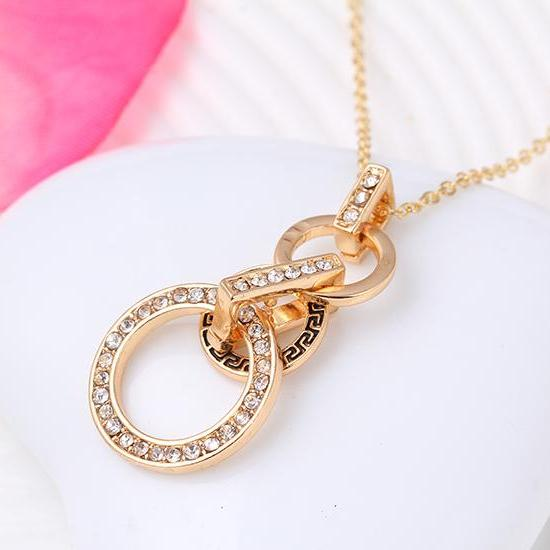 The New Necklace Earrings Set Earrings Pendant Jewelry Set combination female Korean jewelry three piece 32M24