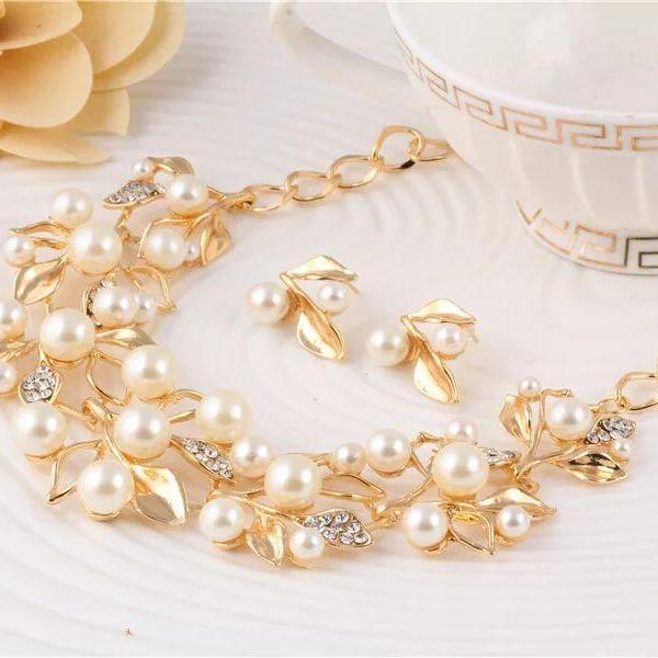 Fashion jewelry set wedding jewelry set necklace with earrings 42D21