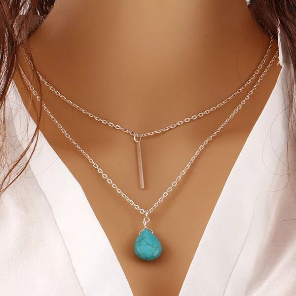 Chain Layered Bar and Turquoise Gemstone Necklace