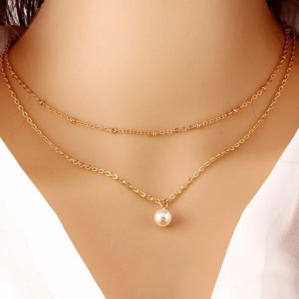 Women fashion necklace New Hot Fashion Gold Plated Fatima Hand 3 Layer Chain Bar Necklace Beads and Long Strip Pendant Necklaces Jewelry 32B32